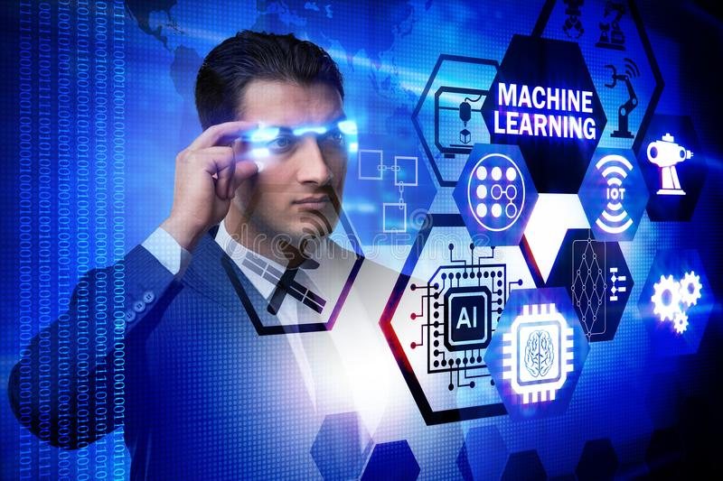 The businessman with futuristic glasses in machine learning concept royalty free stock image
