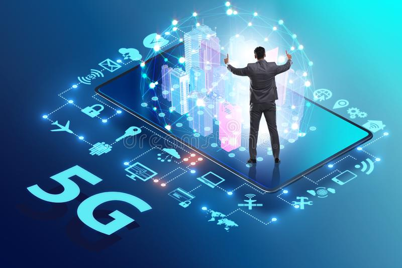 Businessman in 5g high internet speed concept. The businessman in 5g high internet speed concept royalty free stock images