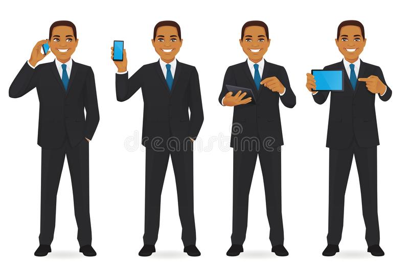 Businessman with gadgets set royalty free illustration