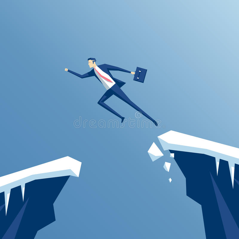 Businessman and gap. Businessman with a running jump over the abyss, an employee jumps from one rock to another, business concept of overcoming challenges and royalty free illustration