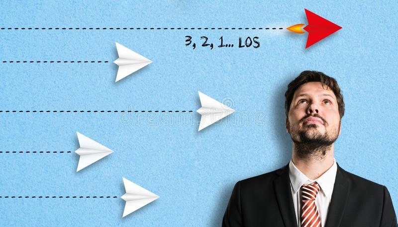Businessman with German message `3, 2, 1 Go` stock image