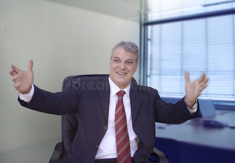 Businessman gesticulating royalty free stock image