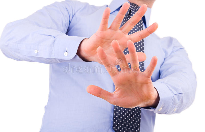 Businessman gesturing with both hands. Business man gesturing with both hands stock photo