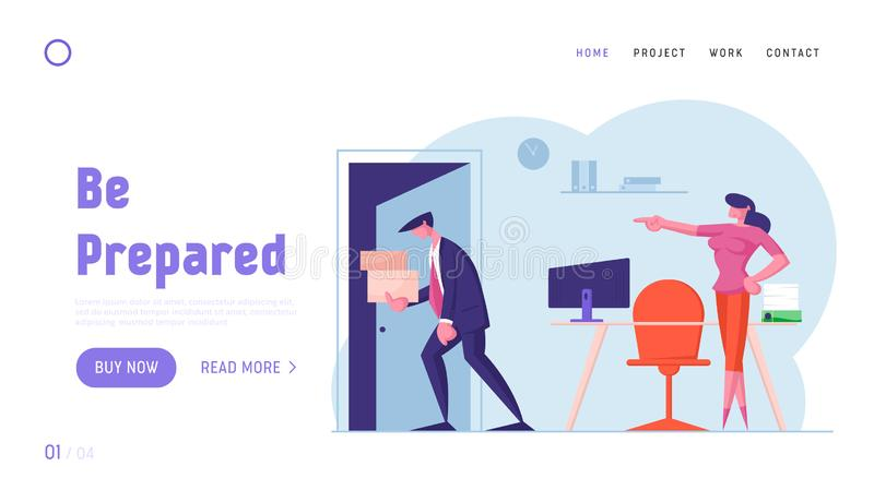Businessman Get Fired from Job Website Landing Page. Upset Collar with Cardboard Boxes in Hands Leaving Office. With Angry Lady Boss Pointing on Door Web Page royalty free illustration