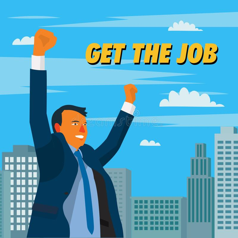 Businessman get the job with cityscape scene vector illustration.Man have a new job and feeling glad in town. Cartoon businessman get job design concept stock illustration