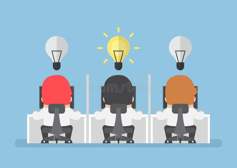 Businessman get new idea with lightbulb over his head royalty free illustration