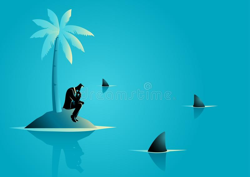Businessman get stuck on island with water full of shark. Business concept vector illustration of a businessman get stuck on island with water full of shark vector illustration