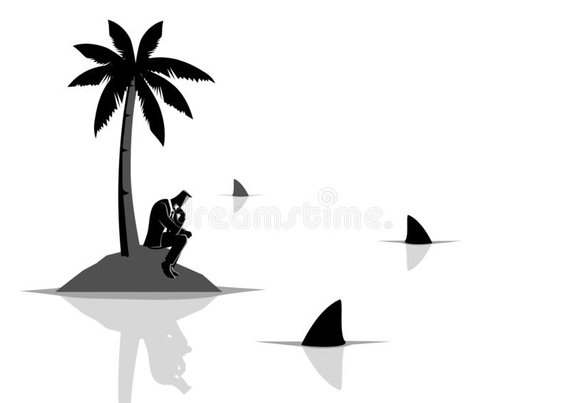 Businessman get stuck on island with water full of sharks. Business concept vector illustration of a businessman get stuck on island with water full of sharks vector illustration