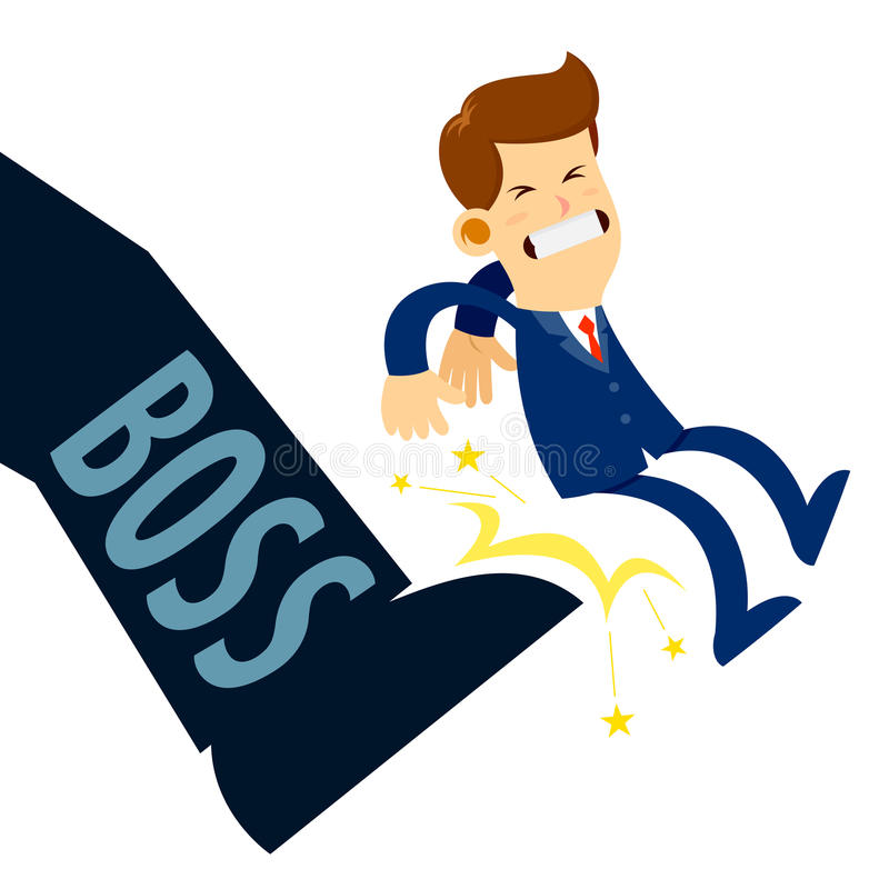 Businessman Getting Kicked By Boss Foot. Vector stock of a businessman being kicked out by boss foot vector illustration
