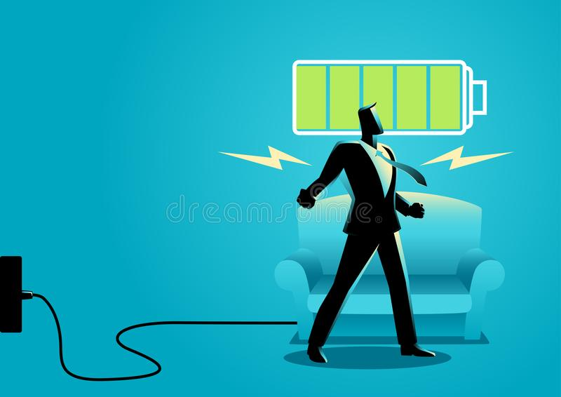 Businessman after getting restful sleep and waking up energized vector illustration