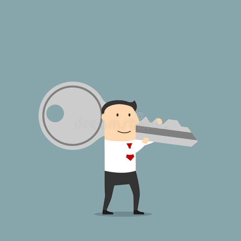 Businessman with a giant key on shoulder vector illustration