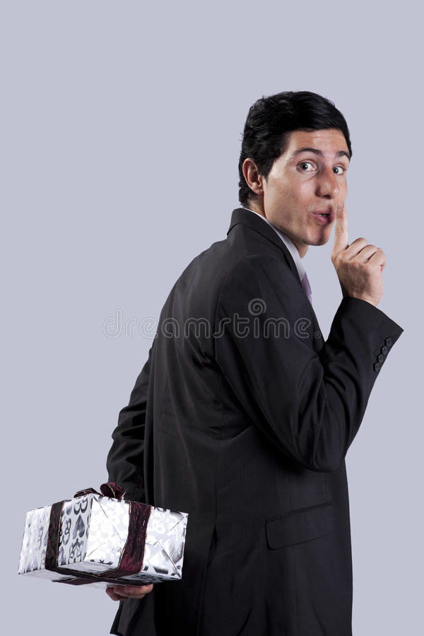 Businessman gift surprise royalty free stock photography