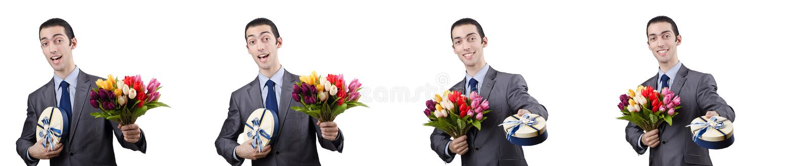 The businessman with giftbox and flowers. Businessman with giftbox and flowers stock images
