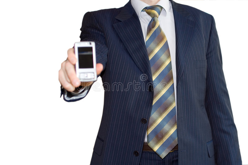 Businessman give mobile stock photo