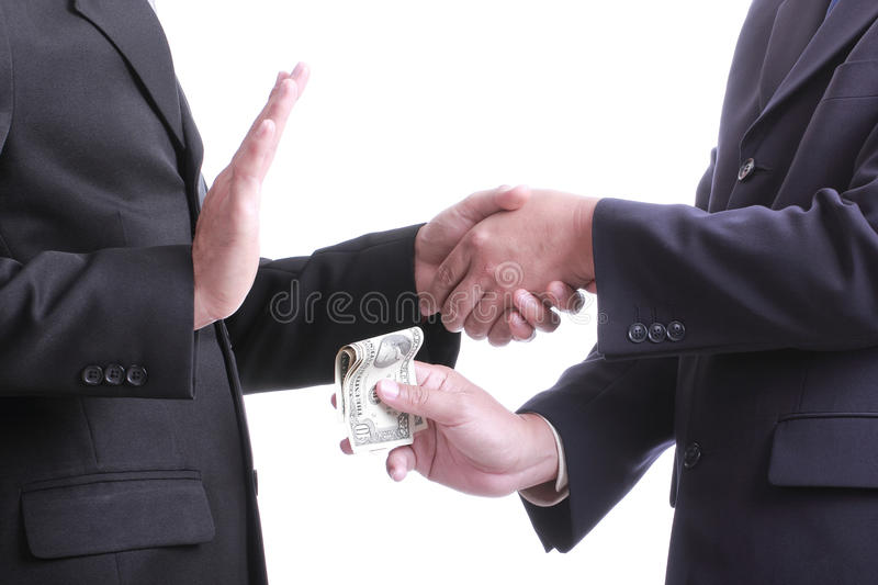 Businessman give money for corruption something but another people unaccepted to do that. Businessman give money for corruption something but another people stock image