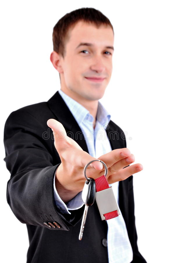 businessman gives the keys royalty free stock images