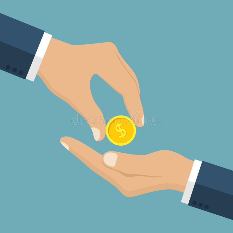 Businessman gives man a gold coin. Receiving money. Transfer of cash from hand to hand. Giving coin. Concept financial giving. Coin in hand. Vector vector illustration