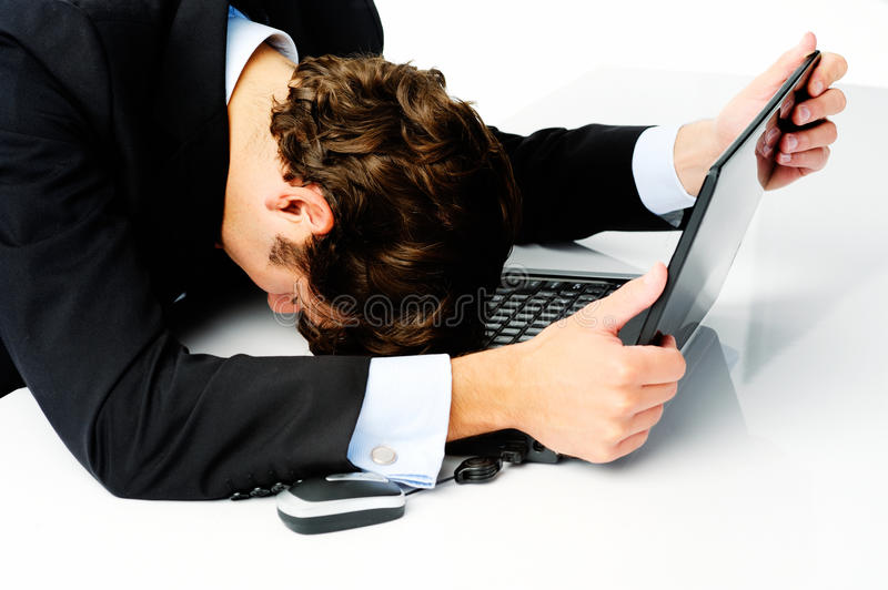 Businessman gives up stock image