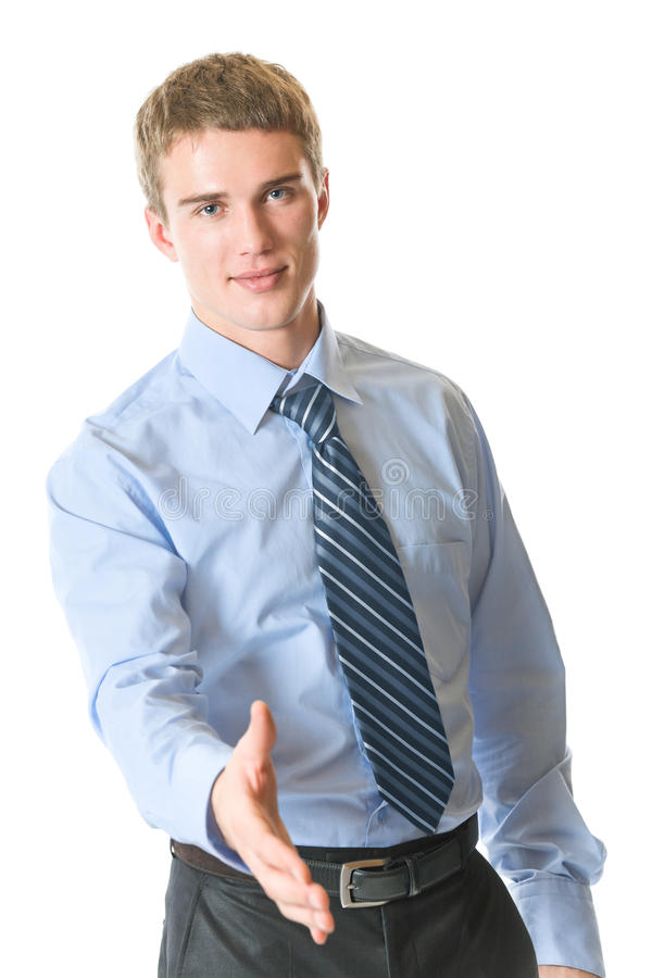 Businessman giving hand royalty free stock photography