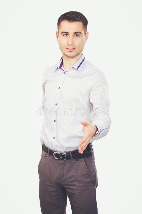 Businessman giving hand for handshake, isolated on white background.  stock images