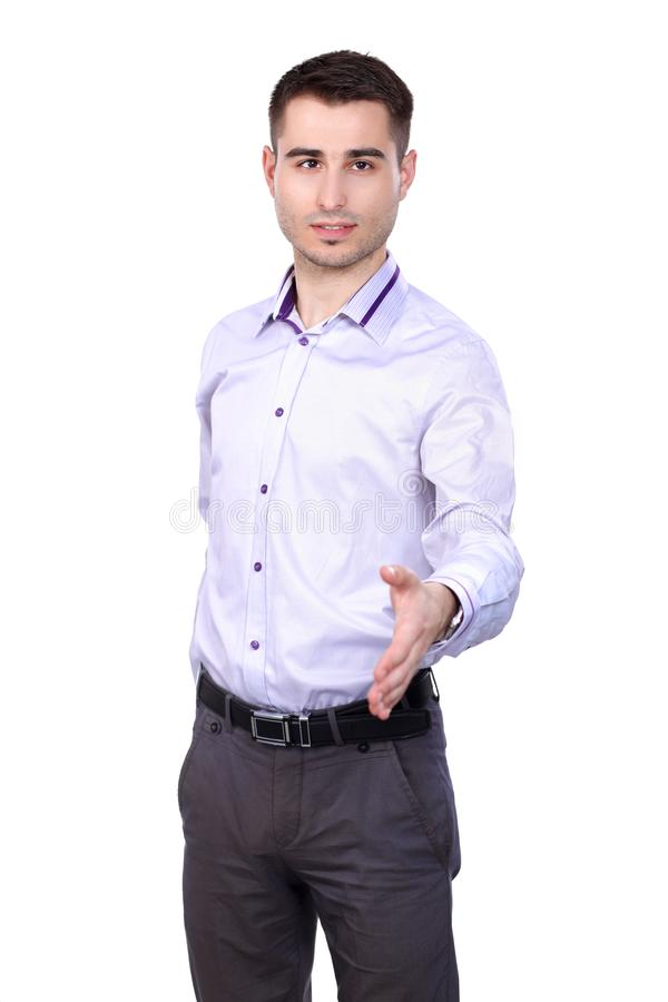 Businessman giving hand for handshake, isolated on white background.  royalty free stock photos