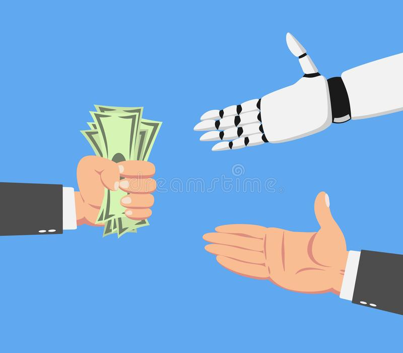 Businessman giving money to robot and a man. Hand of businessman with money giving to a white robotic hand artificial intelligence and a man isolated on blue stock illustration