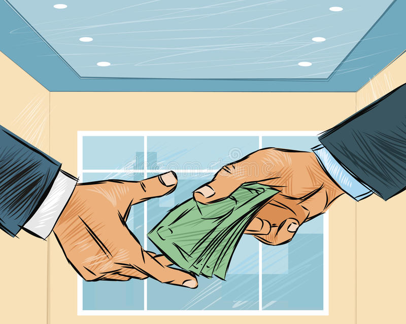 Businessman giving money royalty free illustration