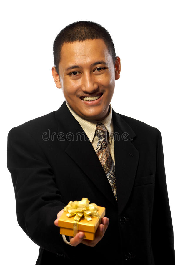 Businessman Giving Present Stock Photos