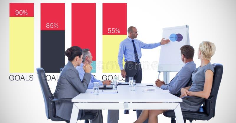 Businessman giving presentation to colleagues against graph. Digital composite of Businessman giving presentation to colleagues against graph stock images