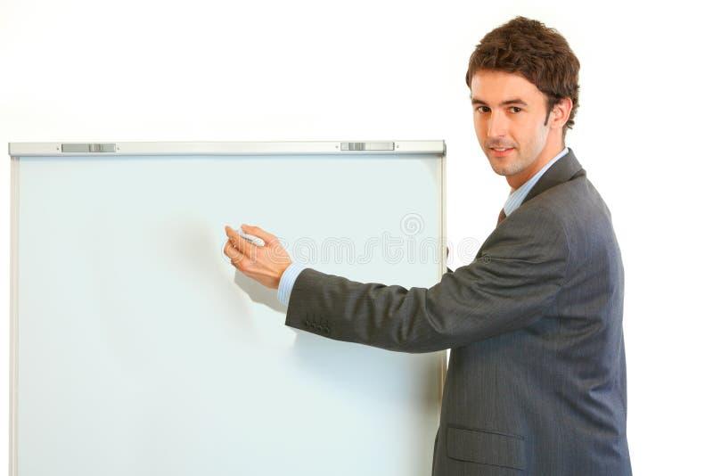 Businessman giving presentation using flipchart stock image