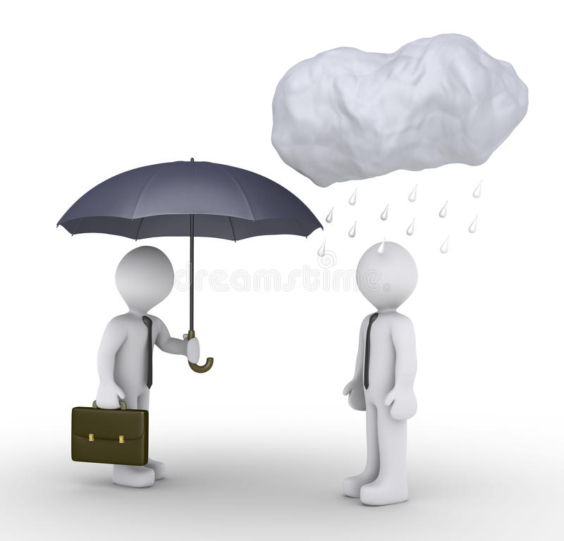 Download Businessman Is Giving Umbrella To Unlucky Person Stock Illustration - Image: 27326041
