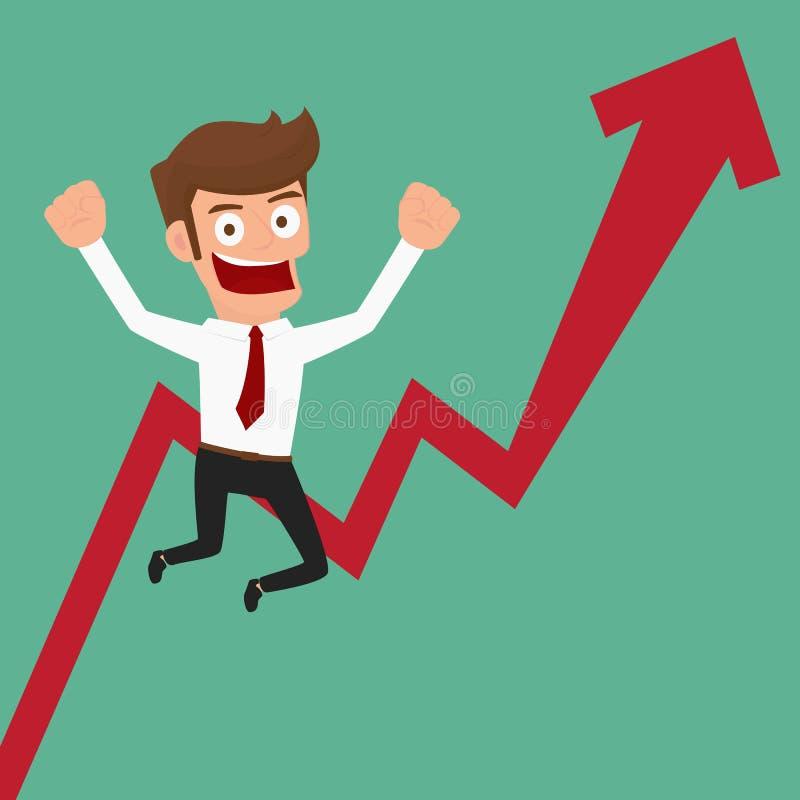 Businessman glad arrow growing chart. Cartoon Vector Illustration royalty free illustration