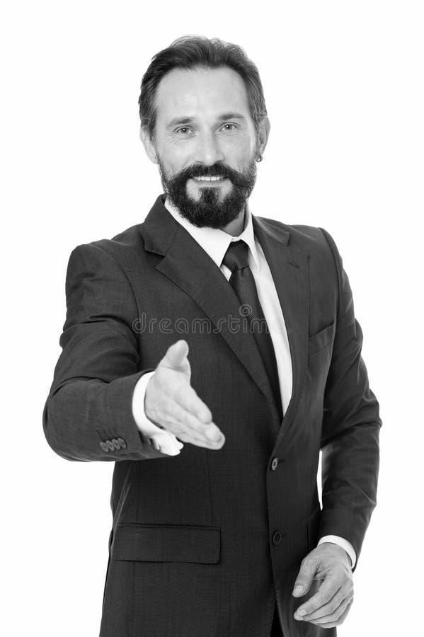 Businessman glad to meet you. Businessman bearded handsome entrepreneur. Successful businessman concept. Customer. Service tips improve business. Businessman stock photo