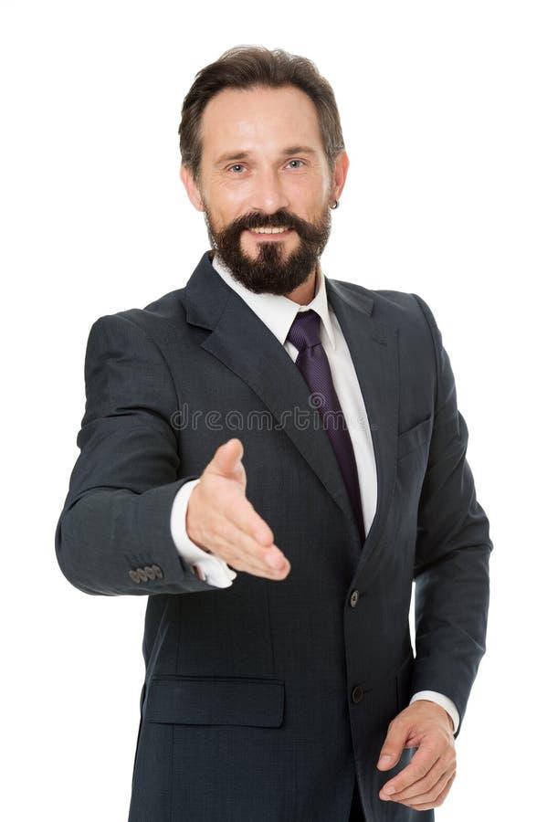 Businessman glad to meet you. Businessman bearded handsome entrepreneur. Successful businessman concept. Customer. Service tips improve business. Businessman royalty free stock image