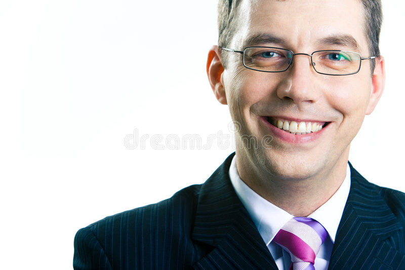 Businessman with glasses stock photos