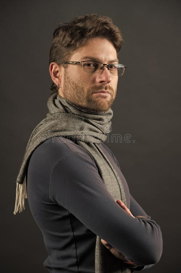 Businessman in glasses on bearded face. Fashion, eyewear, accessory. Vision, business, future concept. Eyesight correction, eye care, health. Man in scarf and stock photos