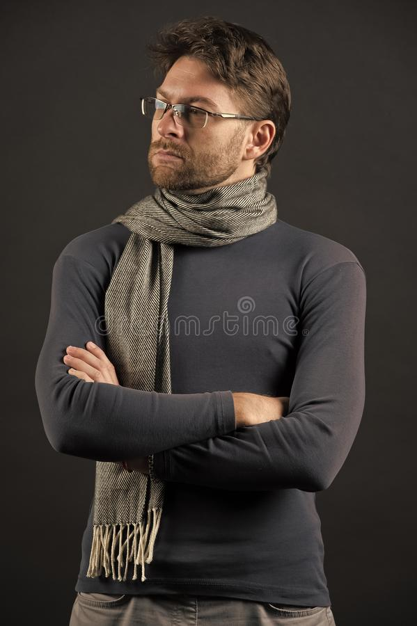 Businessman in glasses on bearded face. Vision, business, future concept. Fashion, eyewear, accessory. Eyesight correction, eye care, health. Man in scarf and stock photo
