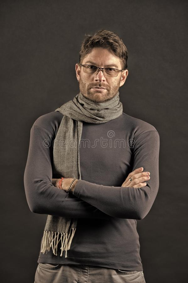 Businessman in glasses on bearded face. Eyesight correction, eye care, health. Fashion, eyewear, accessory. Vision, business, future concept. Man in scarf and stock photography