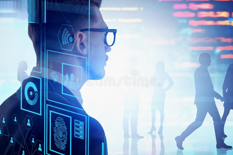 Businessman in glasses, online security concept. Rear view of businessman in glasses looking at business people silhouettes. Double exposure of online security stock photos
