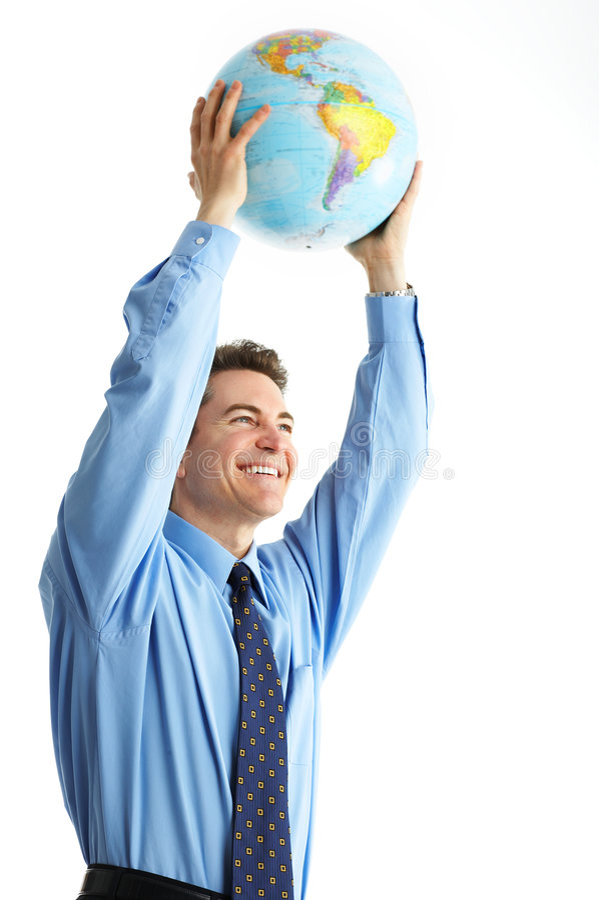 Businessman with globe stock image