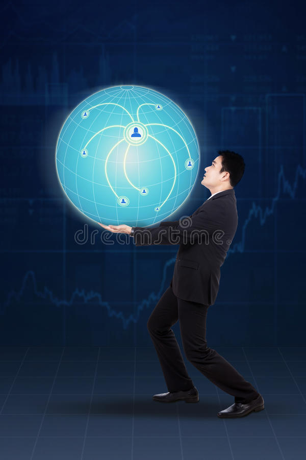 Businessman and globe with connection network stock image