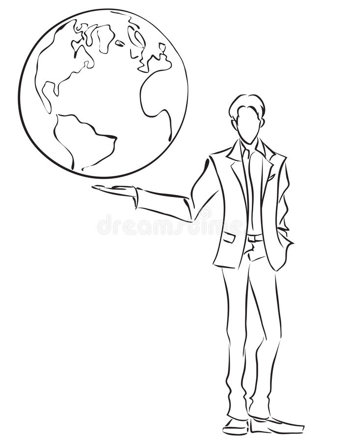 Businessman and globe vector illustration