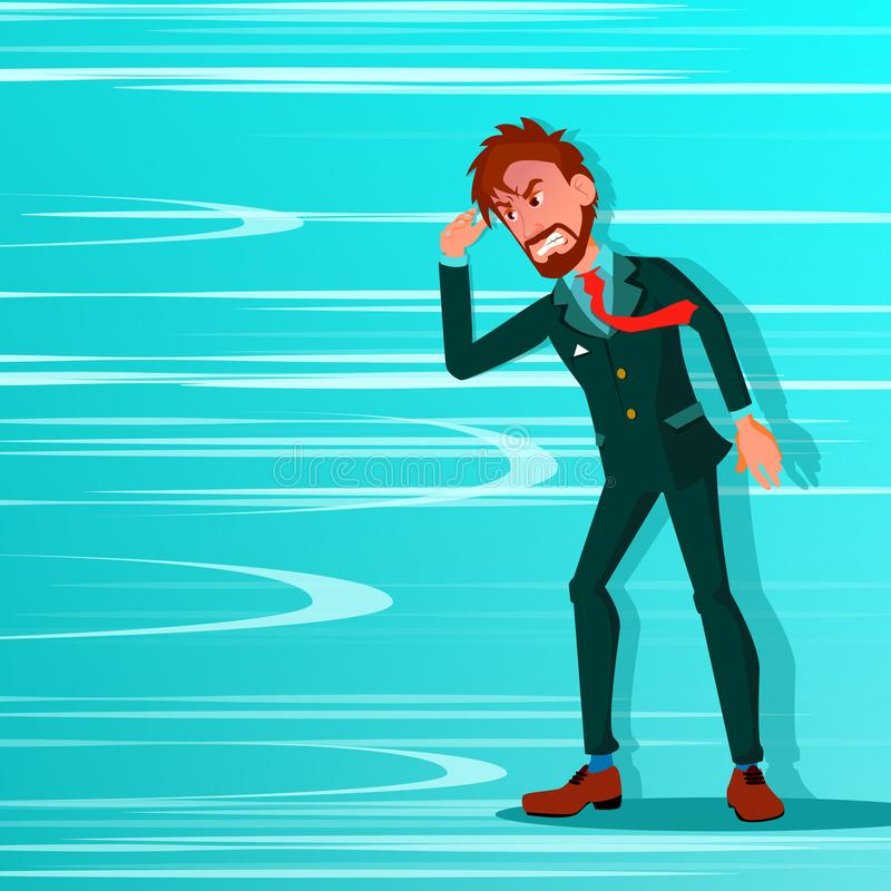Businessman Go Against Wind Blowing Vector. Against Obstacles. Opposite Direction. Opponent, Strategy Concept. Creative. Solution, Innovation. Office Worker stock illustration