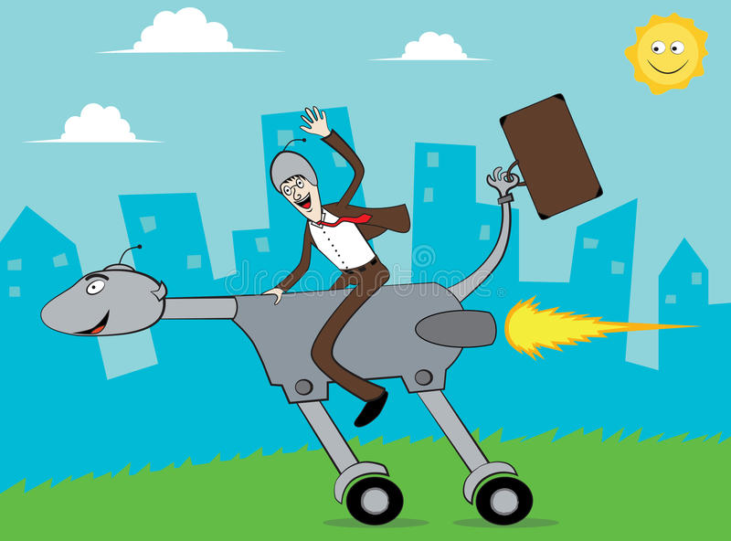 Businessman go to office by riding turbo dog stock illustration