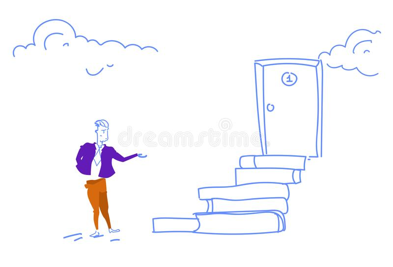 Businessman go up ladder stairs door podium new opportunity concept man climbing success career growth horizontal sketch. Doodle vector illustration royalty free illustration
