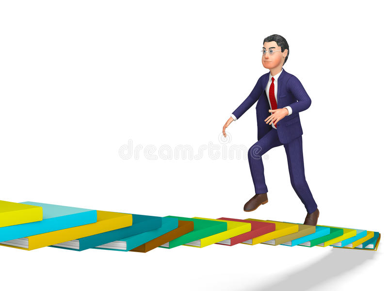 Businessman Going Up Represents Triumph Progress And Staircase. Businessman Going Up Indicating Ascend Succeed And Victorious royalty free illustration