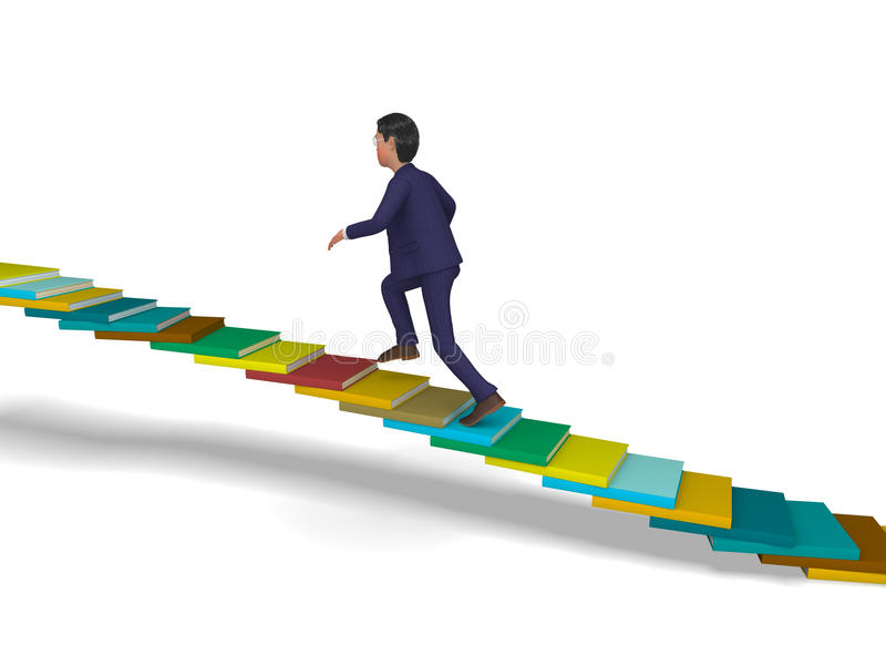 Businessman Going Up Shows Stair Steps And Progress. Businessman Going Up Representing Winning Ascend And Executive vector illustration