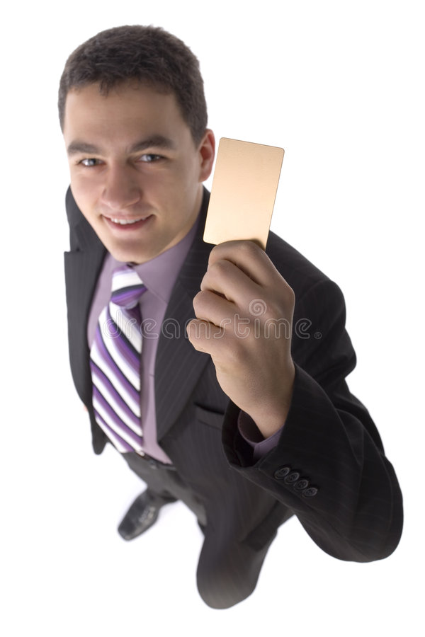 Businessman with gold card royalty free stock photo