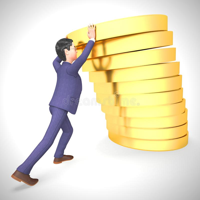 Businessman gold coins stack shows great business profits - 3d illustration. Businessman gold coins stack shows great business profits.  Wealth and prosperity royalty free illustration