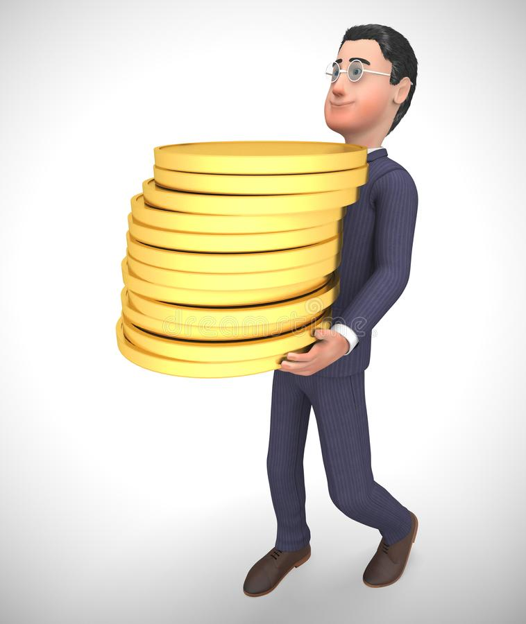Businessman gold coins stack shows great business profits - 3d illustration. Businessman gold coins stack shows great business profits.  Wealth and prosperity vector illustration
